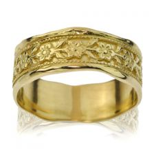 Yellow Gold Floral Art Nouveau Inspired Wedding band