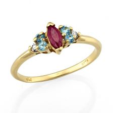 Yellow Gold Side Stone Ruby Ring