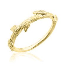 Yellow Gold Crown of Leaves Wedding Band