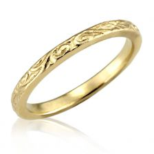 Gold Classic Floral Engraved Wedding Band