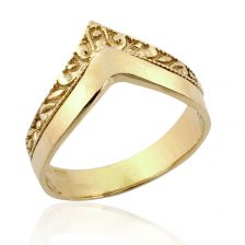 """Unique Yellow Gold Art Deco Gold Double """"V"""" Ring"""