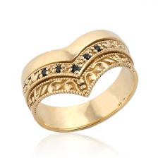 """Art Deco Gold """"V"""" Trio Ring with Stones"""