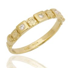 Hand-Crafted Art Nouveau Floral Diamond Engraved Band
