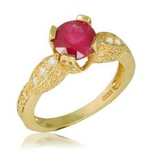 Antique Style Yellow Gold Ruby Engagement Ring
