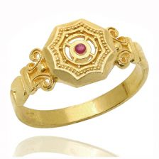 Yellow Gold Octagon Ruby Signet Ring