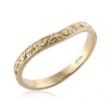 Floral Engraved Curved Yellow Gold Ring