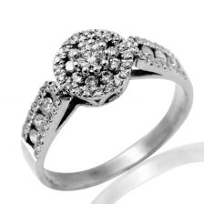 Graduated Triple Pave Halo Exquisite Ring