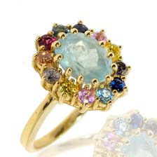 Victorian Style Colorful Halo Ring