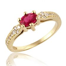 Antique Ruby Glittering Yellow Gold Ring