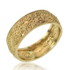 Yellow Gold Wide Vintage Floral Wedding Band