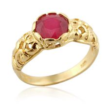 Ruby Crown Yellow Gold Ring