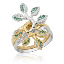 Lilach's Engagement Ring in Gold Set with Diamonds and Emeralds