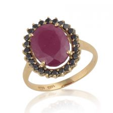 Victorian Style Floating Halo Ruby Ring Yellow Gold