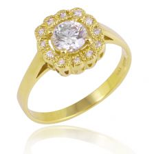 Diamond Floral Halo Ring Yellow Gold