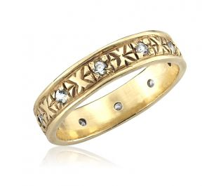 Art Deco Gold Band with Diamonds