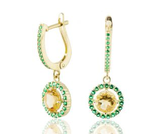 Eclectic Colorful Gold & Gemstone Flower Earrings