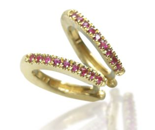 Pave Ruby Hoops Yellow Gold