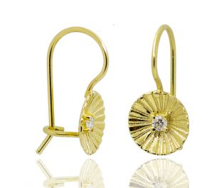 Solid Gold Circular Textured Hanging Earrings