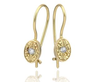 Gold Engraved Oval  Earrings with Diamond