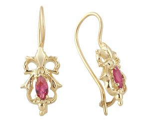 Baroque Inspired Bow Earrings Marquise Ruby Gemstone