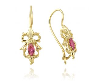 Victorian Style Bow Earrings with Pink Rubies