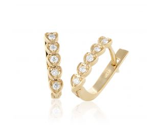 Five Hearts Gold Hoops