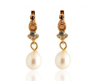 Antique Design Pearl Drop Gold Earrings Rose Gold