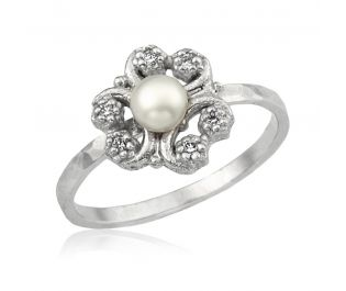 White Gold Victorian Inspired Flower Pearl Engagement Ring