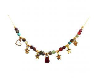 Mother's Day Gold Gemstone Charm Necklace