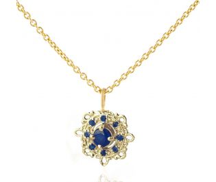 Antique Sapphire Yellow Gold Necklace