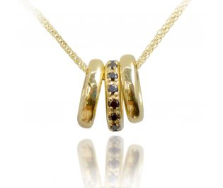 3 Rings Black Diamond Pendant Necklace in Yellow Gold