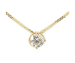 Diamond Accent Necklace Four-Prong Setting 14k Gold