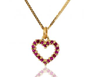 Pave Ruby Heart Pendant