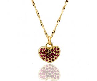 Decadent Puffed Pave Ruby Heart Pendant