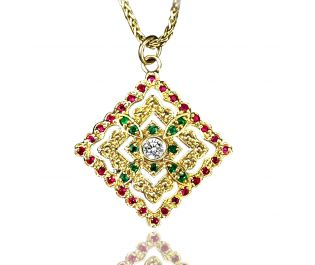 Filligree Sapphire and Ruby Pendant