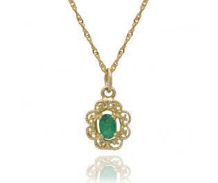 Yellow Gold Victorian Style Emerald Necklace
