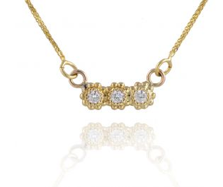 Sweet Flowers With Diamonds Necklace
