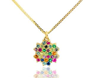 Sparkling colorful Snowflake Necklace