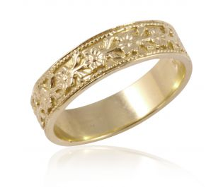 Vintage Style Floral Wedding Ring Yellow Gold