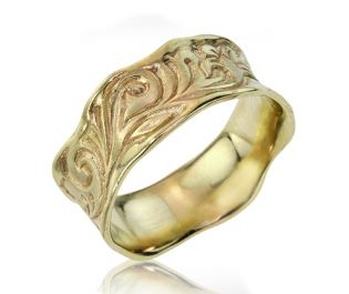 Art Nouveau Inspired Engraved Gold Band