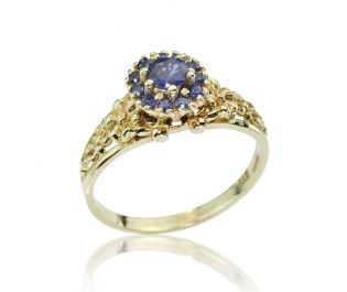 Sapphire Halo Gold Flower Ring