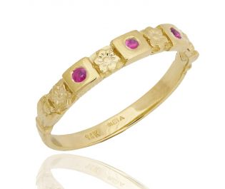Hand-Crafted Art Nouveau Floral Ruby Engraved Band