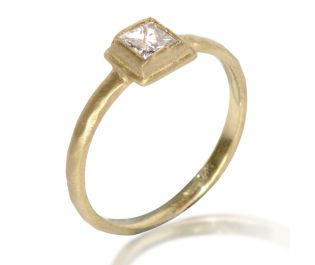 Square Cut Diamond Ring in Yellow Gold