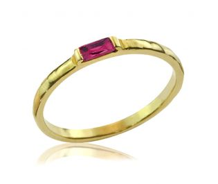 Baguette Ruby Yellow Gold Ring