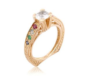 Colorful Victorian Openwork Gold Diamond Ring