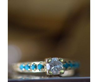 Victorian Style Zircona and Turquoise Ring