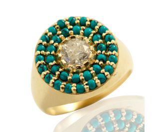 Vintage Style Turquoise & Diamond Cocktail Ring 14k Yellow Gold