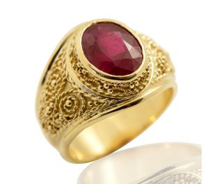 Embellished Yellow Gold Large Ruby Gypsy Ring