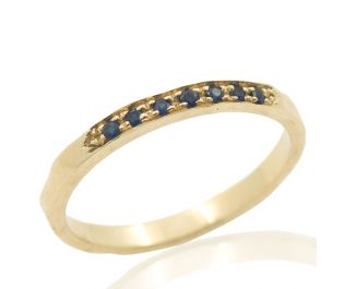 Yellow Gold Sparkling Sapphire Channel Set Hammered Band