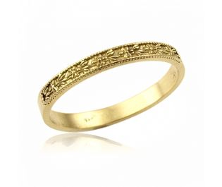 Yellow Gold Vintage Style Floral Band